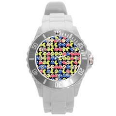 Pacman Seamless Generated Monster Eat Hungry Eye Mask Face Color Rainbow Round Plastic Sport Watch (L)