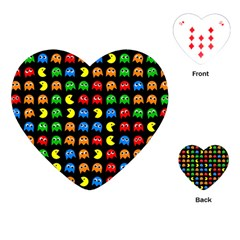 Pacman Seamless Generated Monster Eat Hungry Eye Mask Face Rainbow Color Playing Cards (Heart)