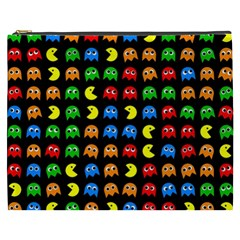 Pacman Seamless Generated Monster Eat Hungry Eye Mask Face Rainbow Color Cosmetic Bag (XXXL)