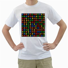 Pacman Seamless Generated Monster Eat Hungry Eye Mask Face Rainbow Color Men s T Shirt (white)