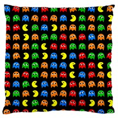 Pacman Seamless Generated Monster Eat Hungry Eye Mask Face Rainbow Color Large Flano Cushion Case (two Sides)