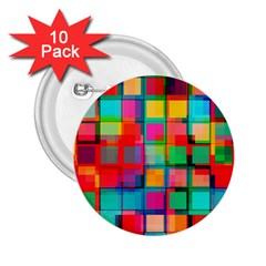 Plaid Line Color Rainbow Red Orange Blue Chevron 2.25  Buttons (10 pack)
