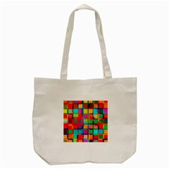 Plaid Line Color Rainbow Red Orange Blue Chevron Tote Bag (Cream)