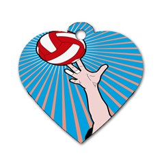 Volly Ball Sport Game Player Dog Tag Heart (One Side)