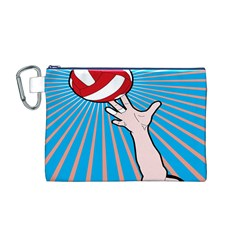 Volly Ball Sport Game Player Canvas Cosmetic Bag (M)
