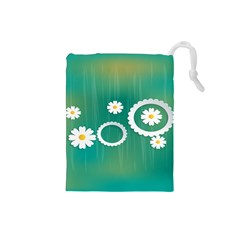 Sunflower Sakura Flower Floral Circle Green Drawstring Pouches (small)