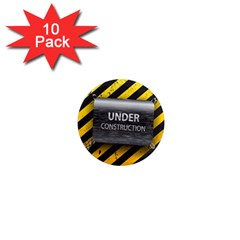 Under Construction Sign Iron Line Black Yellow Cross 1  Mini Magnet (10 Pack)