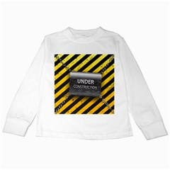Under Construction Sign Iron Line Black Yellow Cross Kids Long Sleeve T-Shirts
