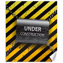 Under Construction Sign Iron Line Black Yellow Cross Canvas 20  x 24