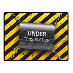 Under Construction Sign Iron Line Black Yellow Cross Double Sided Fleece Blanket (small)