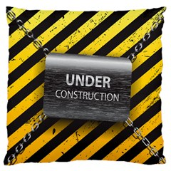 Under Construction Sign Iron Line Black Yellow Cross Large Flano Cushion Case (two Sides)
