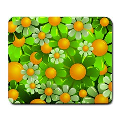 Sunflower Flower Floral Green Yellow Large Mousepads
