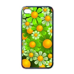 Sunflower Flower Floral Green Yellow Apple Iphone 4 Case (black)