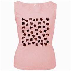 Pug dog pattern Women s Pink Tank Top