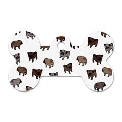 Pug dog pattern Dog Tag Bone (One Side)