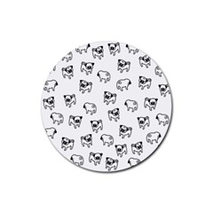 Pug dog pattern Rubber Round Coaster (4 pack)