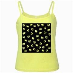 Pug dog pattern Yellow Spaghetti Tank