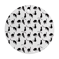 Black cats pattern Ornament (Round)