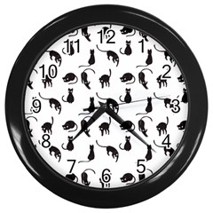 Black cats pattern Wall Clocks (Black)
