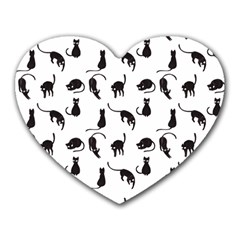 Black cats pattern Heart Mousepads