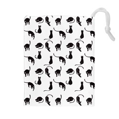 Black cats pattern Drawstring Pouches (Extra Large)
