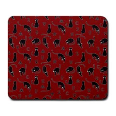 Black cats and witch symbols pattern Large Mousepads