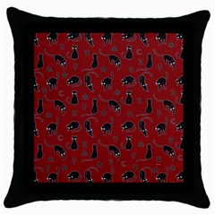 Black cats and witch symbols pattern Throw Pillow Case (Black)