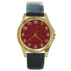 Black cats and witch symbols pattern Round Gold Metal Watch