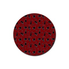 Black cats and witch symbols pattern Rubber Round Coaster (4 pack)