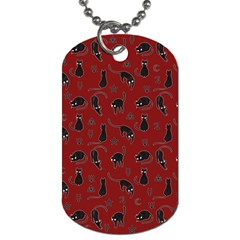 Black cats and witch symbols pattern Dog Tag (One Side)