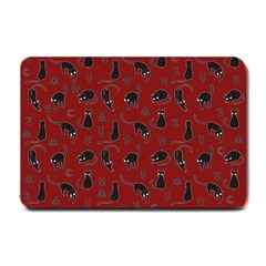 Black cats and witch symbols pattern Small Doormat