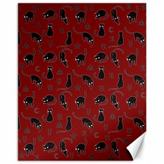 Black cats and witch symbols pattern Canvas 11  x 14