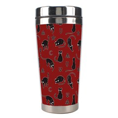 Black Cats And Witch Symbols Pattern Stainless Steel Travel Tumblers