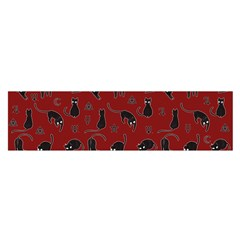 Black Cats And Witch Symbols Pattern Satin Scarf (oblong)