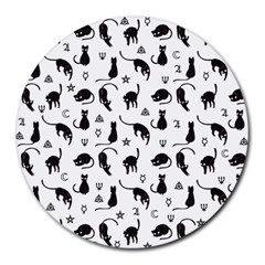 Black cats and witch symbols pattern Round Mousepads