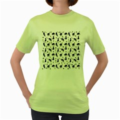 Black cats and witch symbols pattern Women s Green T-Shirt