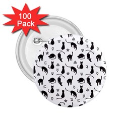 Black cats and witch symbols pattern 2.25  Buttons (100 pack)