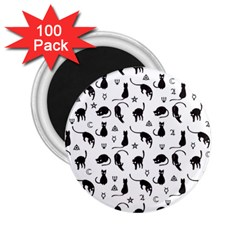 Black cats and witch symbols pattern 2.25  Magnets (100 pack)