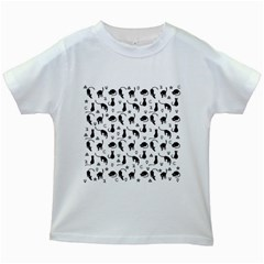 Black cats and witch symbols pattern Kids White T-Shirts