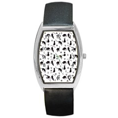 Black cats and witch symbols pattern Barrel Style Metal Watch