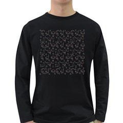 Black cats and witch symbols pattern Long Sleeve Dark T-Shirts