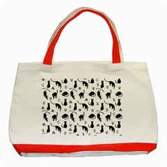 Black cats and witch symbols pattern Classic Tote Bag (Red)