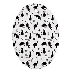 Black cats and witch symbols pattern Oval Ornament (Two Sides)