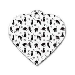 Black cats and witch symbols pattern Dog Tag Heart (One Side)