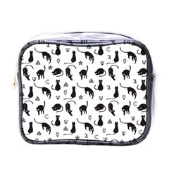 Black cats and witch symbols pattern Mini Toiletries Bags