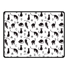 Black Cats And Witch Symbols Pattern Double Sided Fleece Blanket (small)