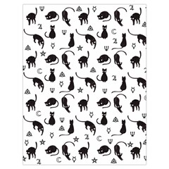 Black cats and witch symbols pattern Drawstring Bag (Large)
