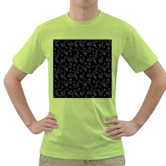 Black cats and witch symbols pattern Green T-Shirt