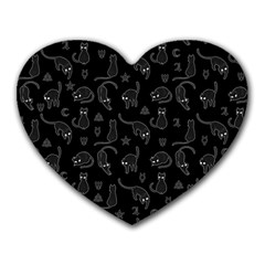Black cats and witch symbols pattern Heart Mousepads