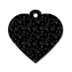 Black cats and witch symbols pattern Dog Tag Heart (Two Sides)